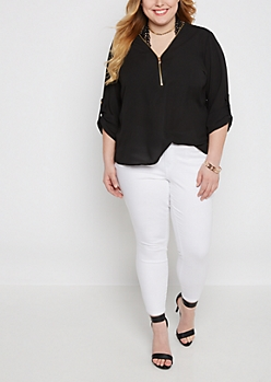 Plus Black Zip-Neck Popover Blouse