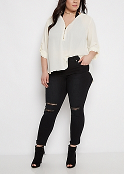 Plus Ivory Zip-Neck Popover Blouse