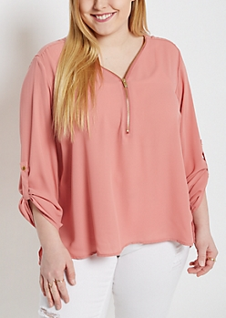 Plus Pink Zip-Neck Popover Blouse