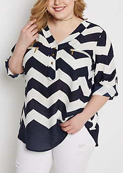 Plus Black Chevron Popover Blouse