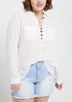 Plus White Pocketed Lace Up Shirt