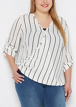 Plus Pencil Striped Surplice Blouse