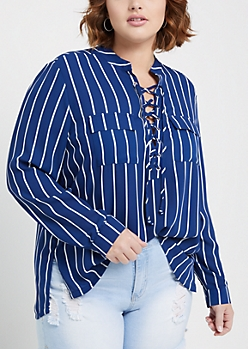 Plus Navy Striped Pocketed Lace Up Shirt