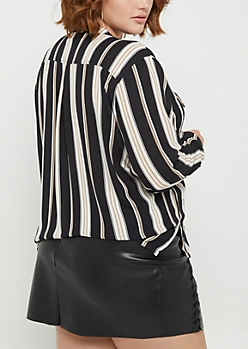 Plus Multi Striped Pocketed Lace Up Shirt