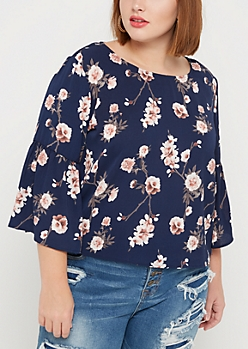 Plus Cherry Blossom Trumpet Sleeve Top