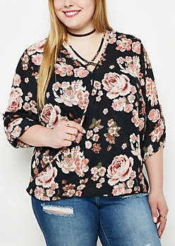 Plus Rose Caged Surplice Blouse