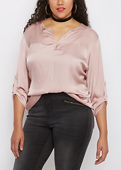 Plus Pink Sateen Popover Blouse