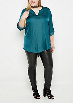 Plus Teal Sateen Popover Blouse