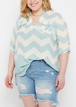 Plus Light Blue Chevron Shirt