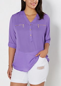 Plus Purple Button Yoke Blouse