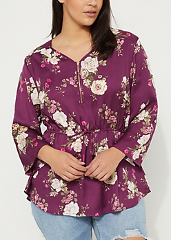 Plus Purple Floral Zip Front Tie Waist Blouse