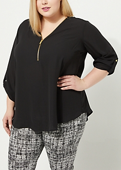 Plus Black Zip Front Blouse