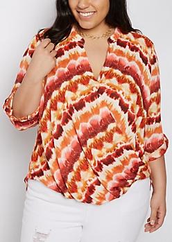 Plus Orange Tie Dye Surplice Blouson Tunic Top