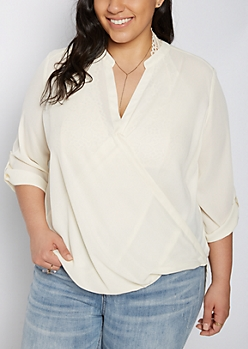 Plus Ivory Surplice Blouson Tunic Top
