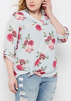 Plus Floral Zip Neckline Popover Blouse