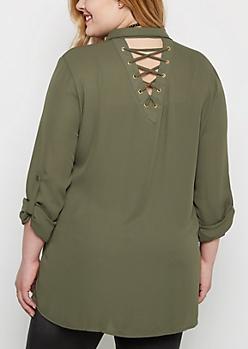 Plus Olive Lace-Up Button Down Blouse