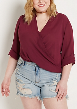 Plus Plum Surplice Chiffon Blouse