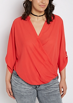 Plus Red Surplice Chiffon Blouse