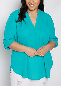 Plus Teal Mandarin Collar Tunic Top
