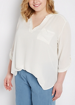Plus White Chest Pocket Chiffon Shirt