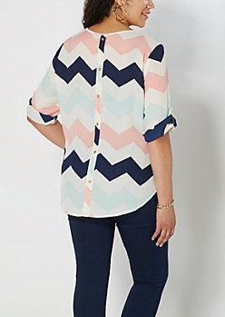 Plus Pink Chevron Back Buttoned Popover