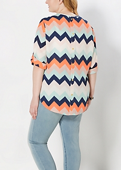 Plus Multi Chevron Buttoned Back Blouse