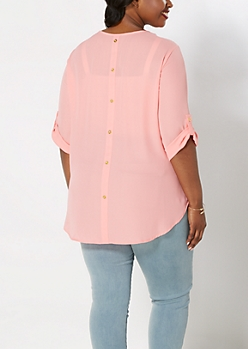 Plus Coral Back Buttoned Popover