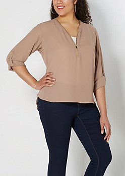 Plus Taupe Zip Front Popover