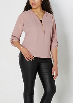 Plus Dusty Rose Zip Front Popover