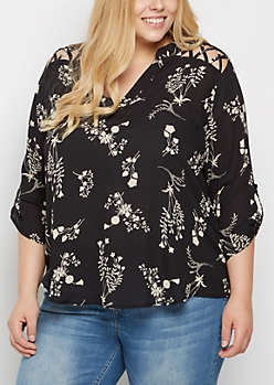 Plus Floral Shadow Strappy Shoulder Blouse
