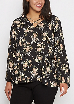 Plus Floral Caged Popover Blouse