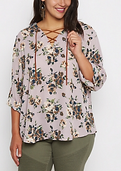 Plus Rosy Lace-Up Popover Blouse