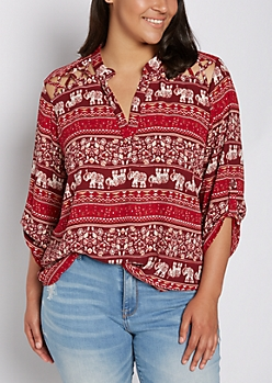 Plus Folklore Elephant Strappy Shoulder Blouse