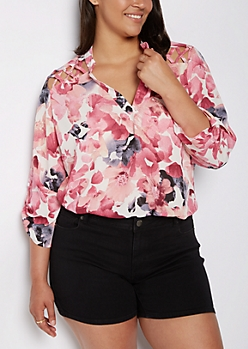 Plus Floral Watercolor Strappy Shoulder Blouse
