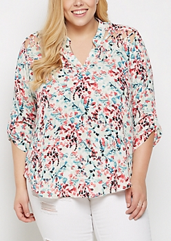 Plus Floral Painted Strappy Shoulder Blouse