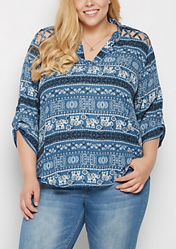 Plus Tribal Elephant Strappy Shoulder Blouse