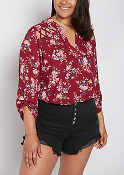 Plus Wildflower Strappy Shoulder Blouse