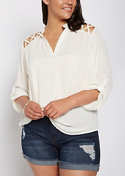 Plus Ivory Strappy Shoulder Blouse