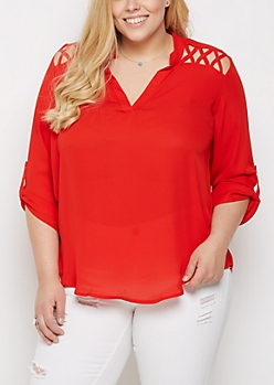 Plus Red Strappy Shoulder Blouse
