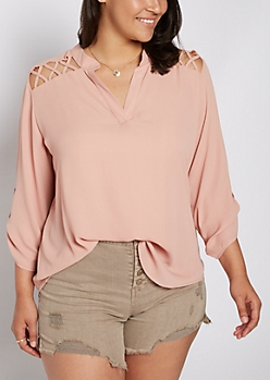Plus Dusty Pink Strappy Shoulder Blouse