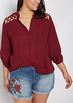 Plus Burgundy Strappy Shoulder Blouse