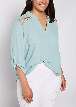 Plus Teal Strappy Shoulder Blouse