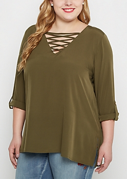Plus Olive Lace Up Popover Blouse