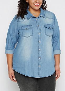 Plus Medium Denim Button Down Shirt