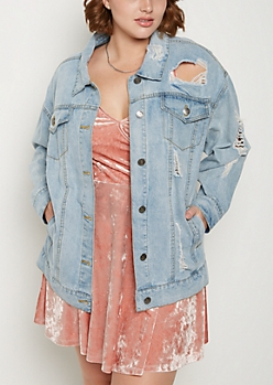 Plus Destroyed Boyfriend Jean Jacket