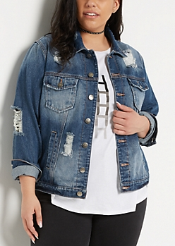 Plus Dark Blue Destroyed Jean Jacket