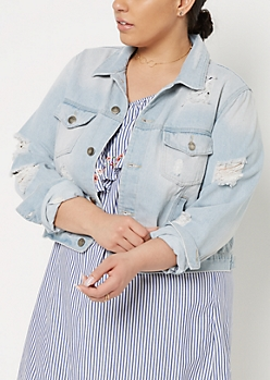 Plus Light Blue Destroyed Jean Jacket