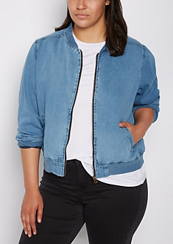 Plus Jean Bomber Jacket