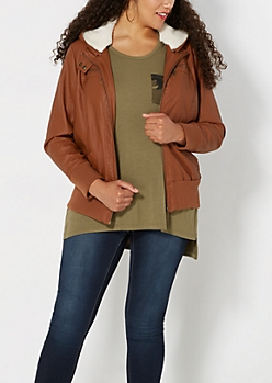 Plus Camel Fleece Lined Bomber
