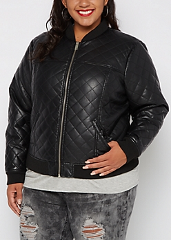 Plus Quilted Faux Leather Bomber